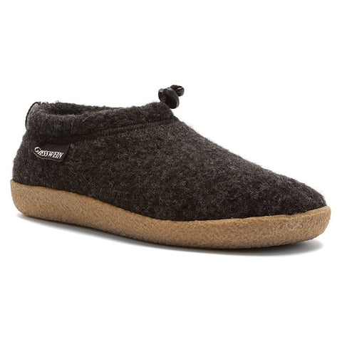 Vent Slipper in Black Wool