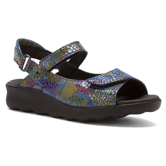 Wolky Pichu Sandal in Jeans Blue Mulit Color Fantasy at Mar-Lou Shoes