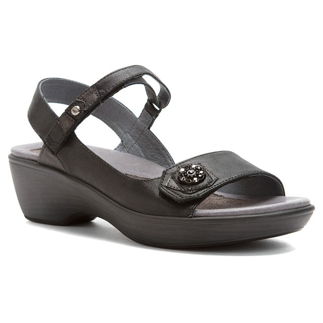 Reserve Sandal in Shiny Black Metallic Road Leather