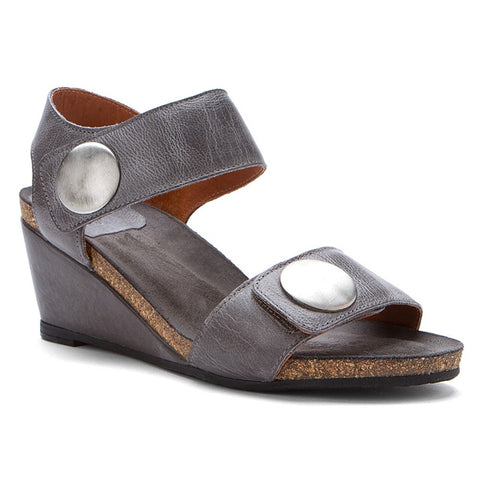 Taos Carousel 2 Wedge Sandal in Graphite Leather at Mar-Lou Shoes