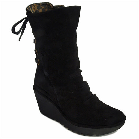 Yada Wedge Boot in Black Oil Suede