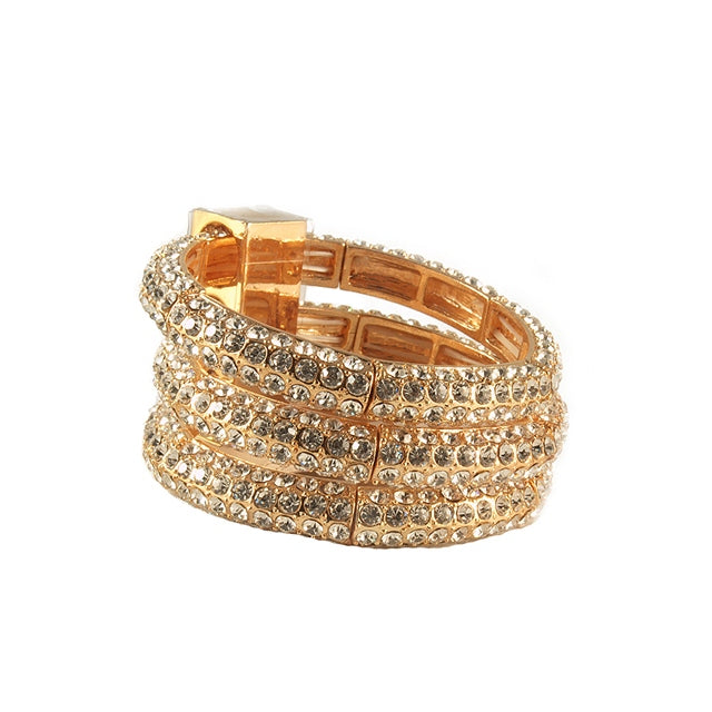 3-Tiered Crystal Gold Bracelet by Troy Designs TROY1579G - GOLD