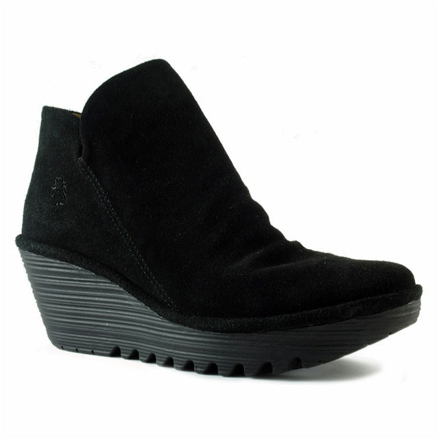 Yip Wedge Bootie in Black Oil Suede