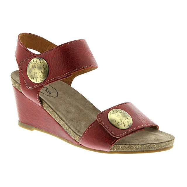 Carousel 2 Wedge Sandal in Red Leather