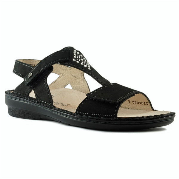 Calvia Sandal in Black Nubuck