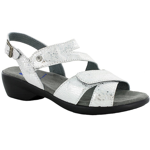 Wolky Fria Sandal in Off White/Silver Leather at Mar-Lou Shoes