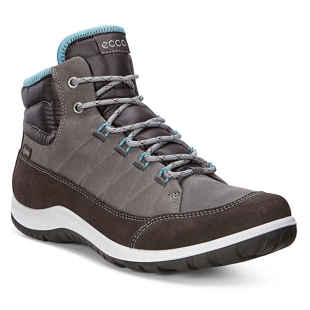 ECCO Women's Aspina GTX Boot in Dark Shadow Nubuck at Mar-Lou Shoes