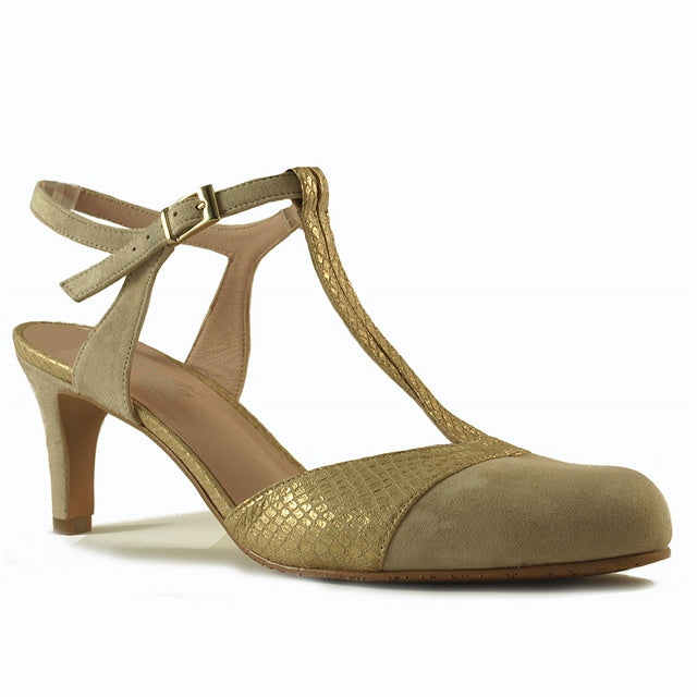 Napoli Slingback in Nude/Gold Suede