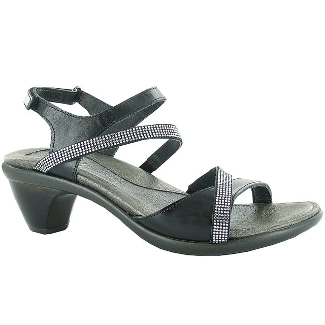 Innovate Sandal in Black/Rhinestone Leather