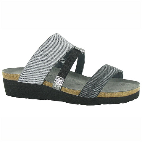 Brenda Slide Sandal in Light Gray/Black
