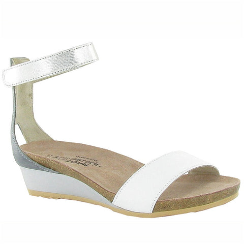Pixie Sandal in White/Silver Leather
