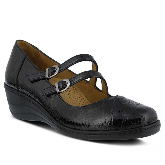 Thorny Mary Jane in Black Snake Patent Leather