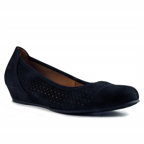 Ballet Wedge in Perforated Black Nubuck
