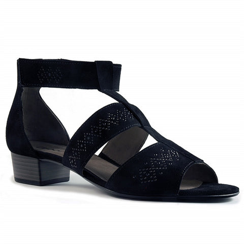 Crystal Sandal in Black Nubuck