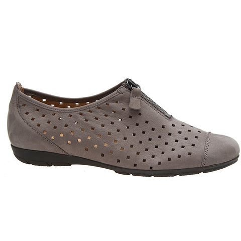 Zip Slip On in Perforated Dark Taupe Leather