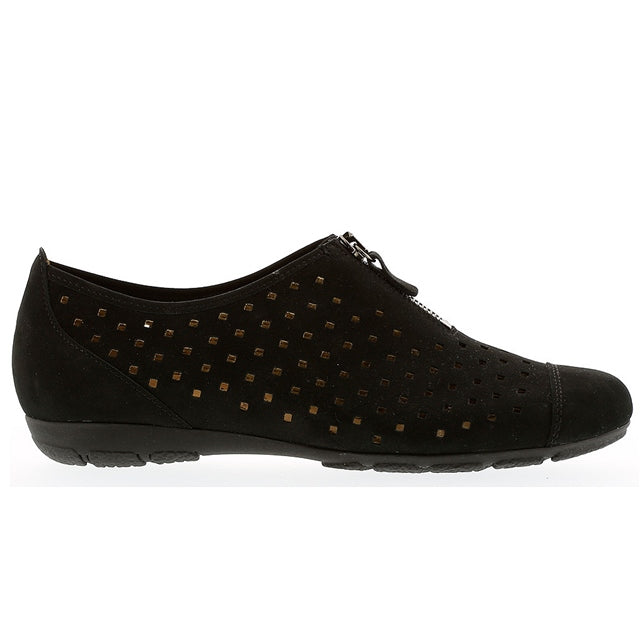 Zip in Perforated Black Leather