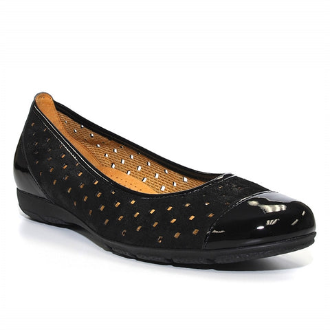Ballet Flat in Perforated Black Patent/Nubuck