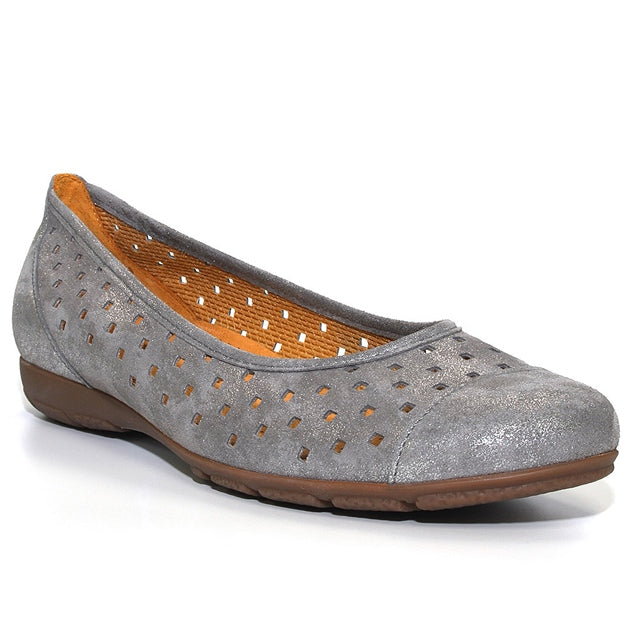 Ballet Flat in Perforated Gray Shimmer Nubuck