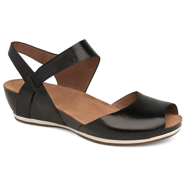 Vera Sandal in Black Burnished Leather