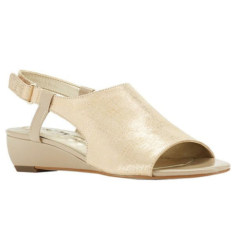 Daphne Sandal in Gold/Taupe Leather
