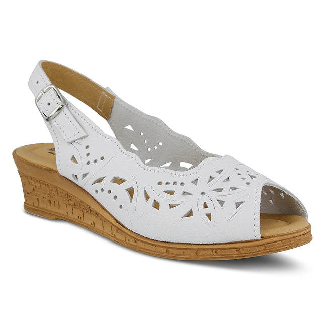 Orella Wedge in White Leather