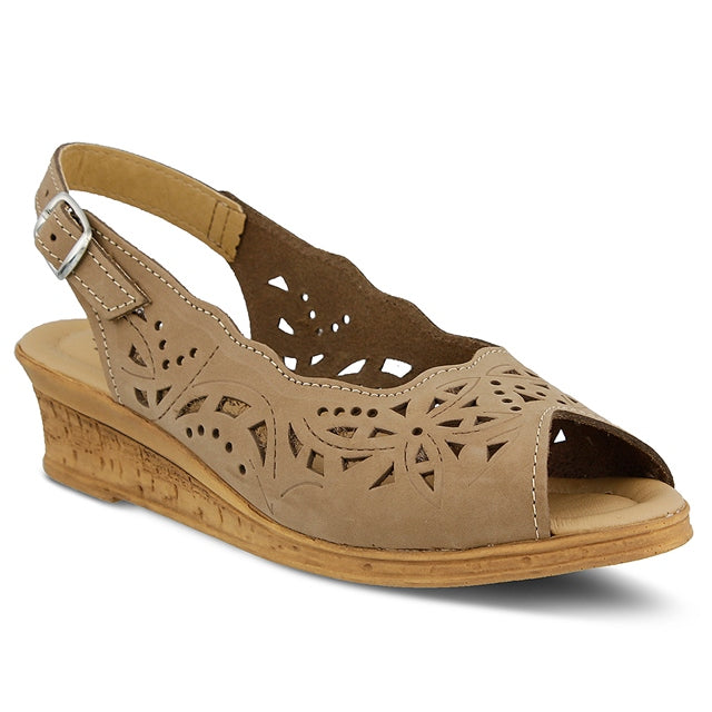Orella Wedge in Beige Leather