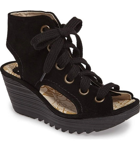 Yaba Lace-Up Platform Wedge in Black