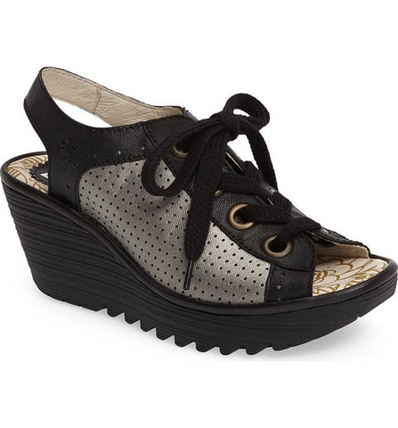 Yuta Lace-up Wedge Sandal in Black/Lead