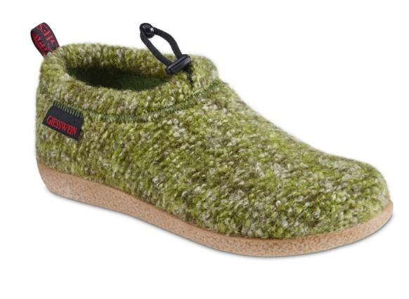 Vent Slipper in Green Wool