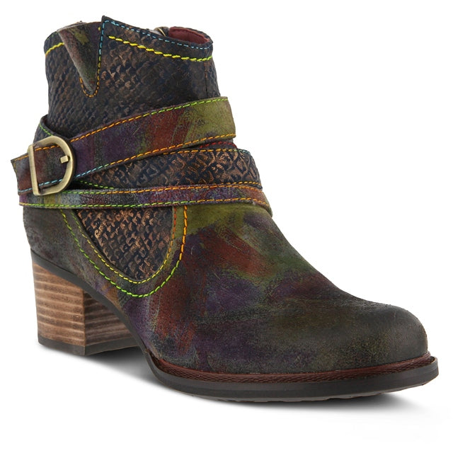 Spring Step Shazzam Bootie in Navy Multi Leather at Mar-Lou Shoes