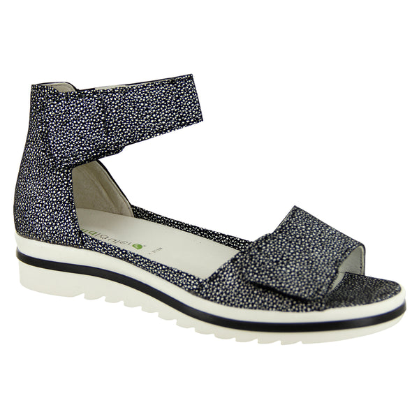 Waldlaufer Marigold Sandal in Black/White Combi at Mar-Lou Shoes