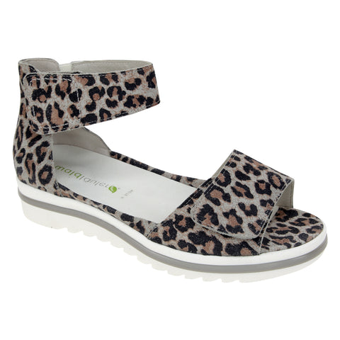 Waldlaufer Marigold Sandal in Leopard Leather at Mar-Lou Shoes