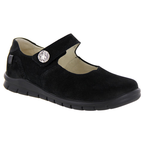 Waldlaufer Mary Jane in Black Tumbled Leather at Mar-Lou Shoes