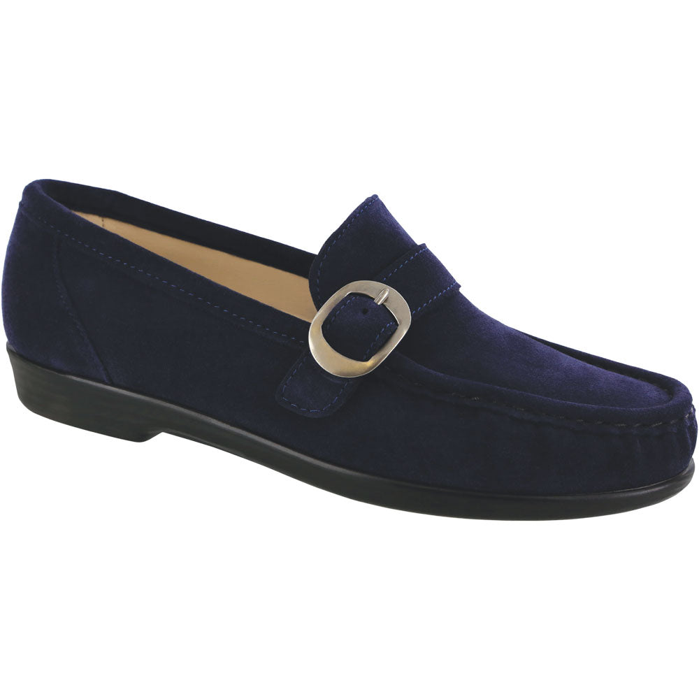 SAS Lara Loafer in Navy Suede at Mar-Lou Shoes