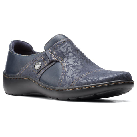 Clarks Cora Poppy Slip-On Navy at Mar-Lou Shoes