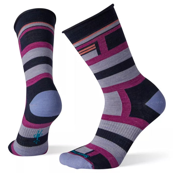Smartwool Women's Non-Binding Pressure Free Striped Crew Socks Deep Navy | Mar-Lou Shoes