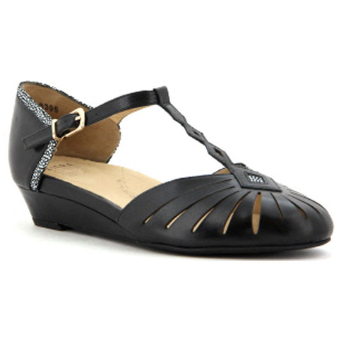 Prego Mary Jane Sandal in Black Leather