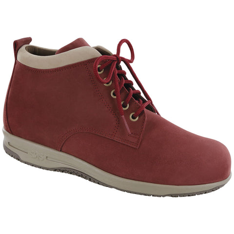 SAS Gretchen Chukka Boot in Red/Taupe Water-Resistant Leather at Mar-Lou Shoes