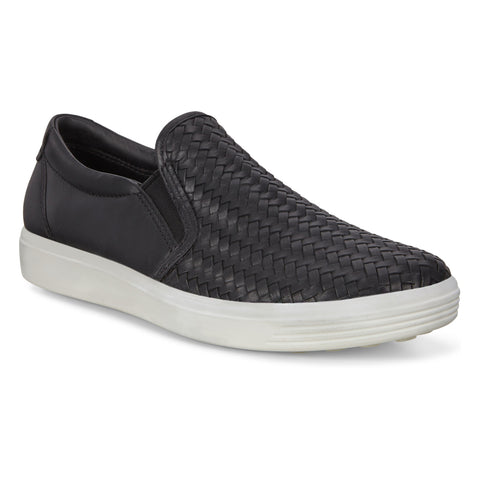 Ecco Soft 7 Woven Slip-On Sneaker Black Leather at Mar-Lou Shoes