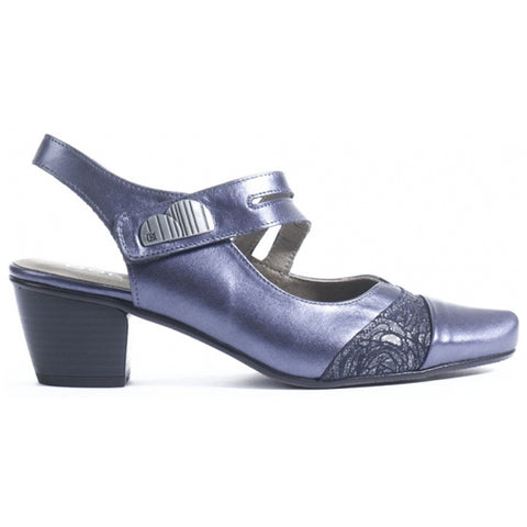 Dorking Triana 6730 Heel in Navy Shimmer Leather at Mar-Lou Shoes
