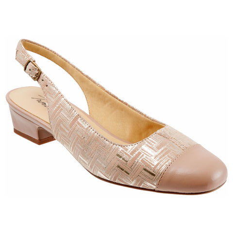Dea in Nude and Gold Woven Leather