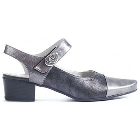 Dorking Tucan 7763 Heel in Black Metallic Leather at Mar-Lou Shoes