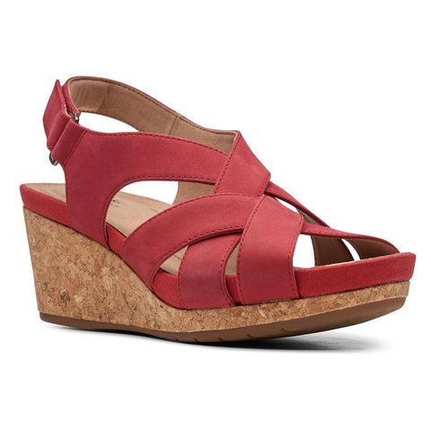 Clarks Un Capri Step Sandal in Red Nubuck at Mar-Lou Shoes