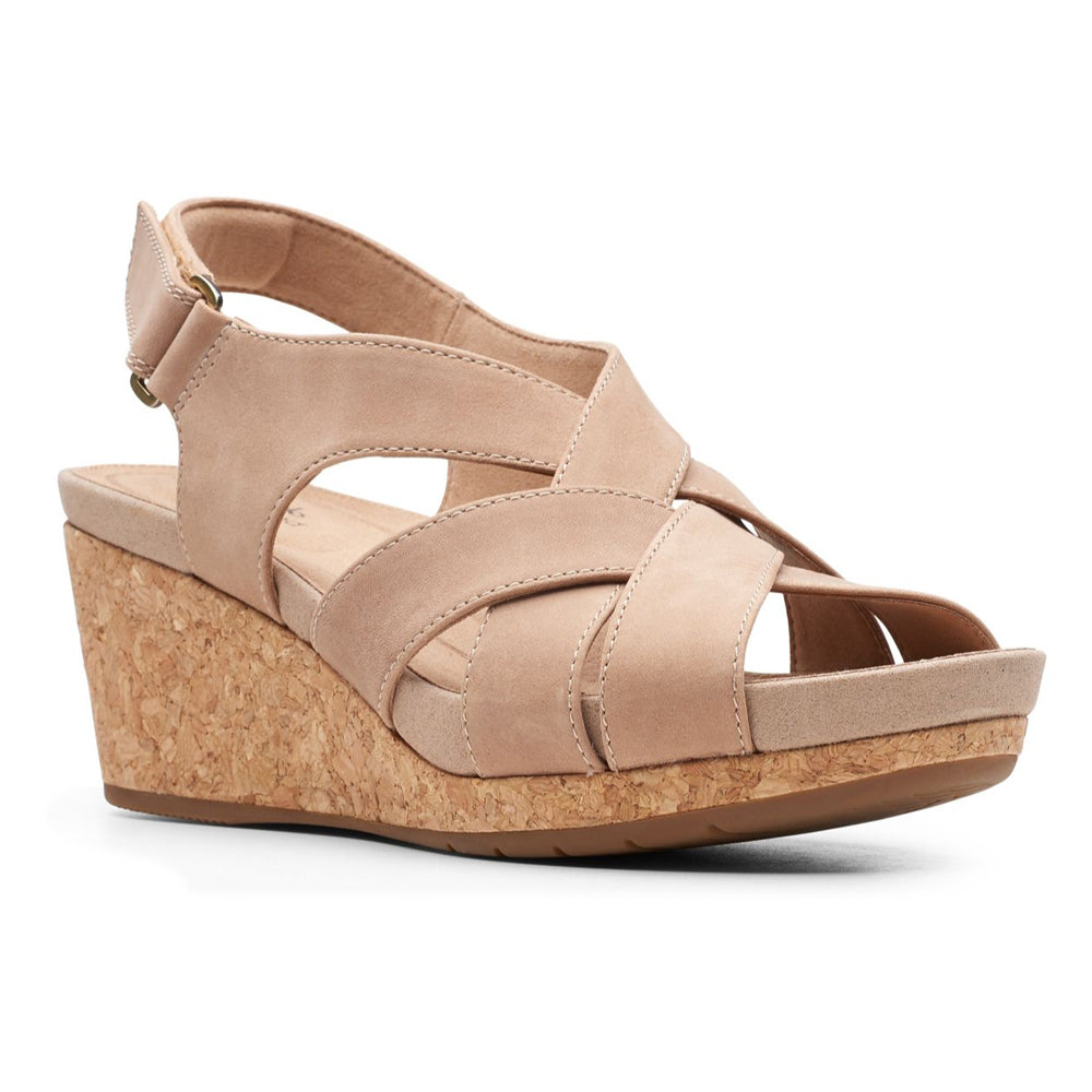 Clarks Un Capri Step Sandal in Sand Nubuck at Mar-Lou Shoes