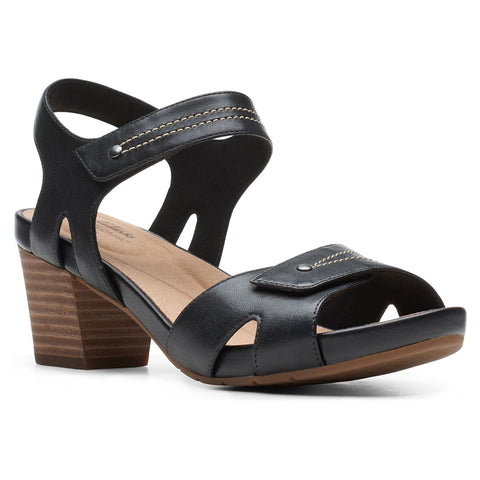Clarks Un Palma Vibe Sandal in Black Leather at Mar-Lou Shoes