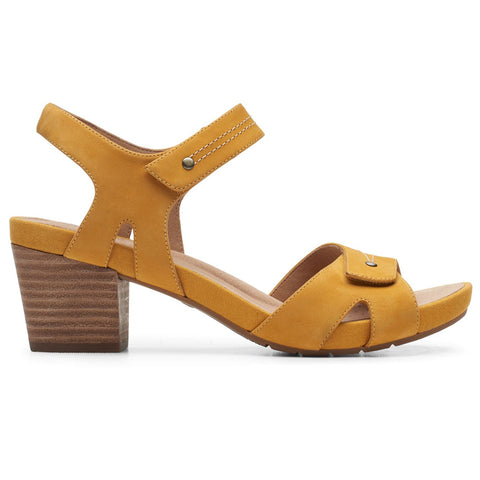 Clarks Un Palma Vibe Sandal in Yellow Leather at Mar-Lou Shoes