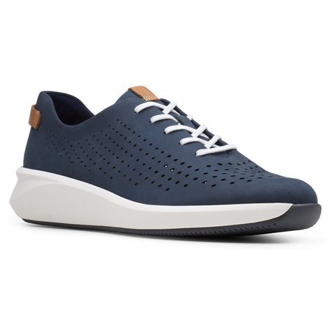 Clarks Un Rio Tie in Navy Nubuck at Mar-Lou Shoes