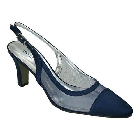 David Tate Vegas Heel Navy Satin at Mar-Lou Shoes