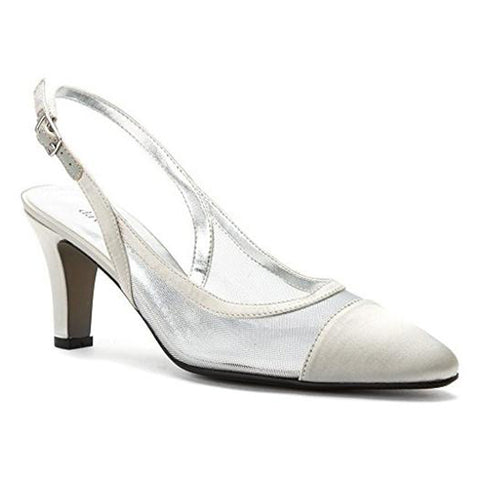 David Tate Vegas Heel Silver Satin at Mar-Lou Shoes