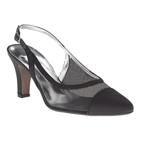 David Tate Vegas Heel Black Satin at Mar-Lou Shoes